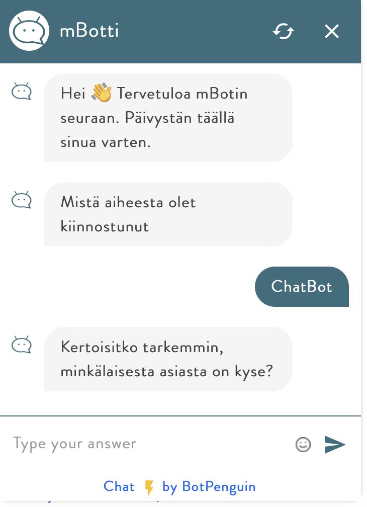 chatbot nettisivuille
