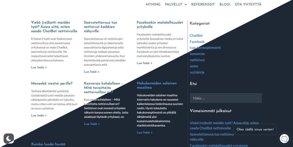 tumma tila - dark mode nettisivut